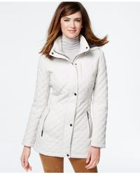 Calvin Klein - White Hooded Quilted Jacket - Lyst