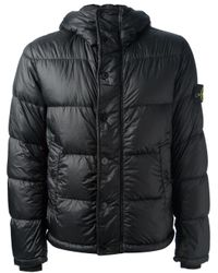 Stone Island | Blue Padded Hooded Jacket for Men | Lyst