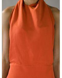 Balenciaga - Red Halterneck Evening Dress - Lyst
