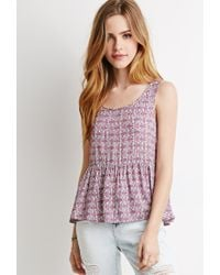 Forever 21 | Pink Tribal Print Babydoll Top | Lyst