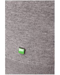 BOSS Green | Gray 'rall' | Stretch Cotton Blend Sweater for Men | Lyst