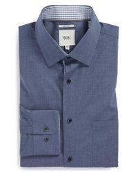 W.r.k. - Blue Extra Trim Fit Melange Dress Shirt for Men - Lyst