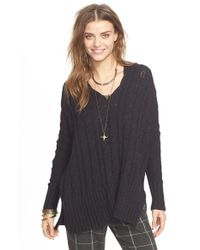 Free People - Black Easy Cable V-neck Sweater - Lyst