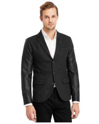 Kenneth Cole Reaction - Gray Faux-Leather Moto Sleeve Blazer for Men - Lyst