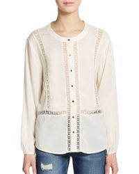 Ella Moss | Natural Lace-inset Top | Lyst