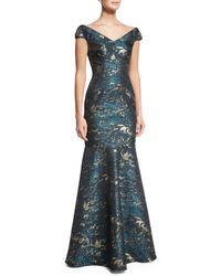 David Meister   Blue Cap-sleeve Brocade Mermaid Gown   Lyst