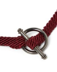 Yuvi - Red Silver and Woven Cord Bracelet for Men - Lyst