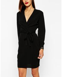 ASOS | Black Tulip Dress With Wrap Belt | Lyst