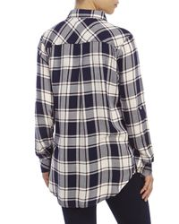 Kenneth Cole Reaction - Blue Patch Pocket Plaid Boyfriend Shirt - Lyst