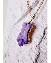 Missguided - Semi-precious Stone Pendant Necklace Purple - Lyst