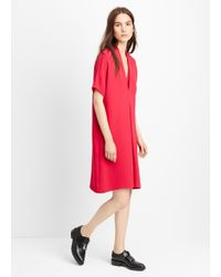Vince - Red V-Neck Crepe Shift Dress  - Lyst