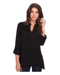 Adrianna Papell | Black Bella Handkerchief Hem Shirt | Lyst