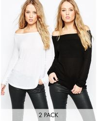 ASOS | Black Top With Off Shoulder Details In Slouchy Fabric 2 Pack Save 10% | Lyst