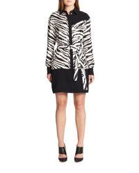 Emanuel Ungaro | Black Zebra-print Silk Shirtdress | Lyst