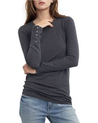Velvet By Graham & Spencer | Black Button-accented Cotton Top | Lyst