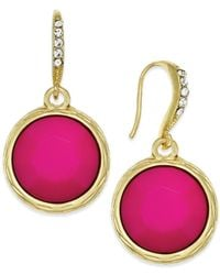 INC International Concepts | Pink Gold-tone Fuchsia Stone Drop Earrings | Lyst