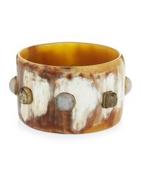 Ashley Pittman | Brown Nguvu Light Horn Bangle W/ Pyrite & Rose Quartz | Lyst