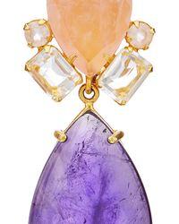 Bounkit | Multicolor Rose Quartz And Amethyst Drop Earrings | Lyst