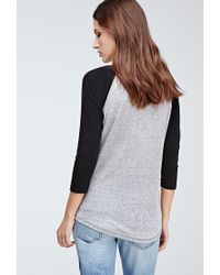 Forever 21 - Gray Heathered Waffle Knit Baseball Tee You've Been Added To The Waitlist - Lyst