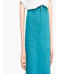 Mango - Green Flared Long Skirt - Lyst