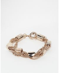 Oasis | Metallic Heart Mixed Chain Bracelet | Lyst