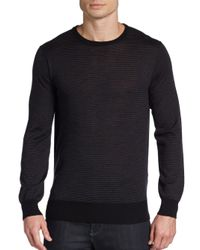 Saks Fifth Avenue | Black Mini Stripe Wool Sweater for Men | Lyst
