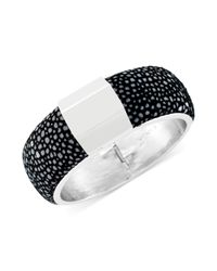 Vince Camuto | Metallic Silvertone Puffed Leather and Metal Accent Bangle Bracelet | Lyst