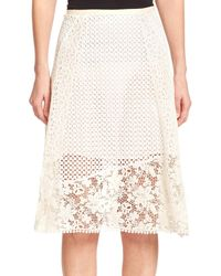 See By Chloé - White Cotton Lace Skirt - Lyst