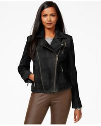 Michael Kors | Black Michael Distressed Leather Moto Jacket | Lyst