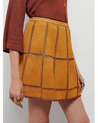 Free People | Yellow Piece Out Suede Mini Skirt | Lyst