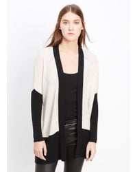 Vince - Natural Cashmere Colorblock Pointelle Trim Cardigan - Lyst