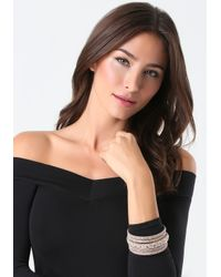 Bebe - Pink Crystal Bangle Set - Lyst