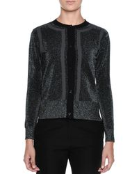 Marni - Black Metallic-knit Long-sleeve Cardigan Sweater - Lyst