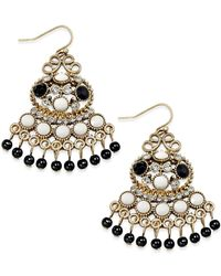 INC International Concepts | Metallic Black And White Cluster Drop Earrings | Lyst
