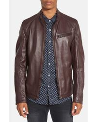 7 Diamonds | Brown 'norwell' Black Leather Moto Jacket for Men | Lyst