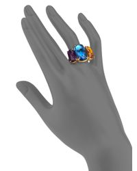 Marco Bicego | Murano Citrine, Amethyst, London Blue Topaz & 18k Yellow Gold Three-stone Ring | Lyst