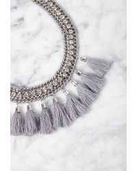 Forever 21 | Gray Tasseled Rhinestone Statement Necklace | Lyst
