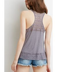 Forever 21 | Gray Floral Lace-paneled Slub Tank | Lyst
