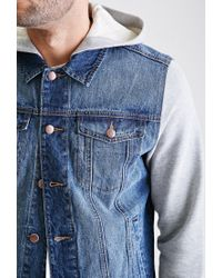 Forever 21 | Blue Hooded Denim Jacket for Men | Lyst