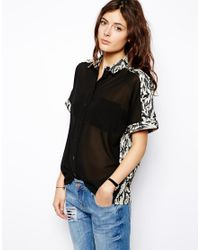 ASOS - Black Shirt With Contrast Panels And Camoflage Jacquard - Lyst