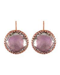 Larkspur & Hawk - Purple Olivia Gold-washed Topaz Button Earrings - Lyst