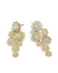 David Yurman | Metallic Starburst Cluster Earrings With Diamonds In 18k Gold | Lyst