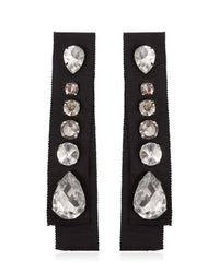 Lanvin   Black Grosgrain Crystal Earrings   Lyst