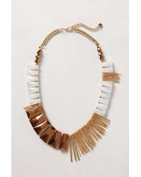 Anthropologie - Brown Fringe Flourish Necklace - Lyst