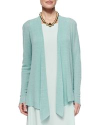 Eileen Fisher - Blue Long Angled Linen-blend Cardigan - Lyst
