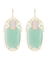 Kendra Scott | Deva Lotus Green Chalcedony Earrings | Lyst
