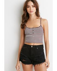 Forever 21 | Purple Ribbed Knit Stripe Cropped Cami | Lyst