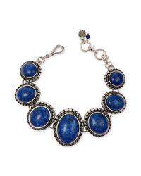 Lucky Brand | Blue Silvertone Lapis Round Link Bracelet | Lyst