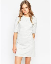 ASOS | Gray Stripe Tunic Dress | Lyst
