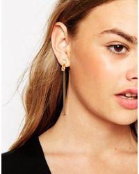ASOS - Metallic Slinky Chain Double Earrings - Lyst
